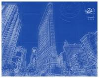 Blueprint Drawing of Manhattan, New York USA