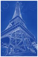 Blueprint drawing of Eiffel Tower in Paris