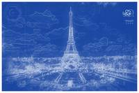 Blueprint drawing of Eiffel Tower