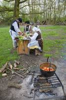 Tudors cooking outdoors
