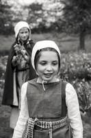 Tudor girls in garden