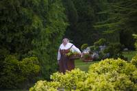 Tudor woman in garden
