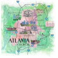 Atlanta Fine Art Print Retro Vintage Map
