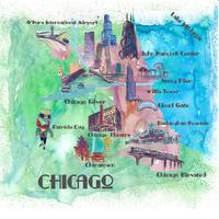 Chicago Fine Art Print Retro Vintage Map