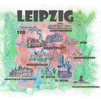 Leipzig Fine Art Print Retro Vintage Map