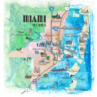 Miami Fine Art Print Retro Vintage Map