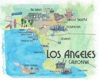Los Angeles Fine Art Print Retro Vintage Map