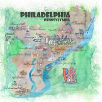 Philadelphia Fine Art Print Retro Vintage Map