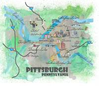 Pittsburgh Fine Art Print Retro Vintage Map