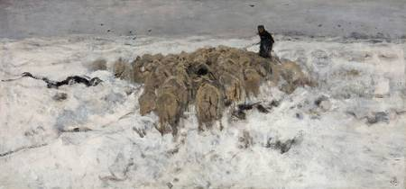 Anton Mauve Flock of sheep with shepherd in the sn