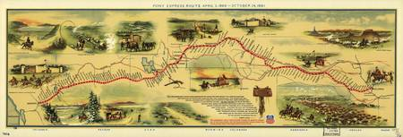 Map of the Pony Express Postal Service Route April