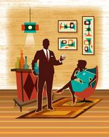 Mid Century Modern Couple Bar Scene