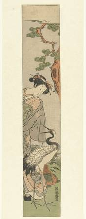 Courtesan, crane and tortoise by pine, Isoda Koryu
