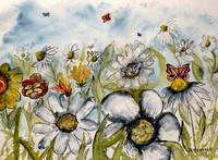 painting of flowers and butterflies