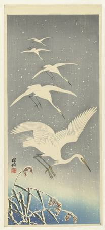 Descending egrets in snow, Ohara Koson, 1925 - 193