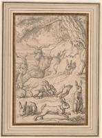Francis Barlow 1626 -1702 Group of Hares and Goats