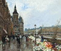 Georges Stein , Flower market, Wharf of the Grandf