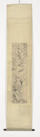 Hanging scroll with bamboo and orchids on a rock,