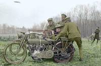 World War I solders gunnery practice on a motorcyc