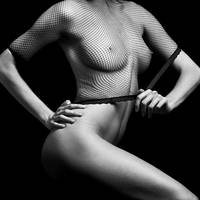Nude Woman with great body in black and white