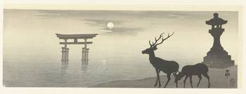 Landscape with torii and deer, Ohara Koson, 1900 -