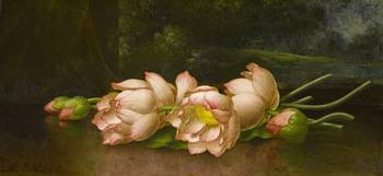 Lotus Flowers, A Landscape Painting in the Backgro