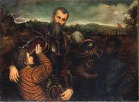 Paris Bordone portrait of a man in armor with two