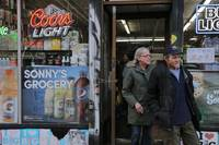 Couple Leaving Liquor Store in Manhattan