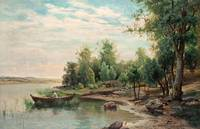 JACOB SILVÉN, VIEW OF A LAKE WITH ANGLING MAN IN A