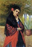 John Bagnold Burgess - A Spanish Beauty in a Red a