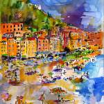 """Camogli Beach Italy People on Beach"" by GinetteCallaway"
