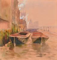 RUTH MERCIER (fl. 1880-1913) Barges moored on the