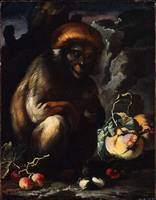 Monkey with Fruit Unidentified artist, Italian (Ne