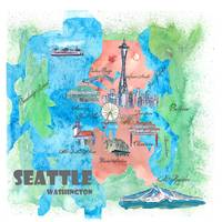 Seattle Washington Travel Poster Favorite Map