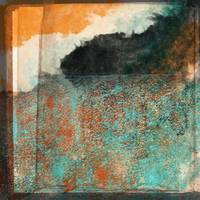 Aqua and Orange with Black Layered Abstract