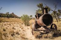 Steam engine in Outback Australia