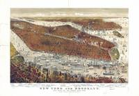 Aerial View of New York and Brooklyn, with Jersey