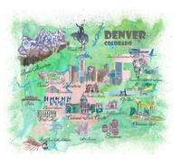 Denver Colorado Map Travel Poster Overview Best Of