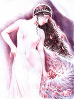Sappho's rose ball point pen drawing - Sappho si t