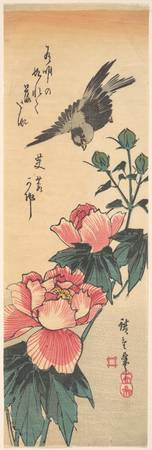 Sparrow and Hibiscus by Utagawa Hiroshige 1834