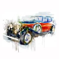 Vintage Automobile Watercolor Painting