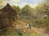 Linnie Watt - Children in a Farmyard ca. 1875