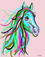 Teal and Pink Horse