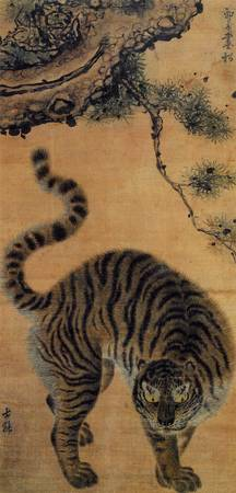 Tiger under a pine tree, or Songhamaenghodo.
