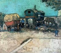 gypsy camp with horse carriage, Vincent van Gogh