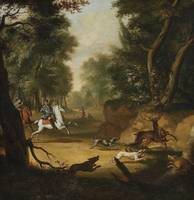 Johann Christian Klengel, circle of, Deer Hunt wit