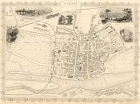 Vintage Map of Perth Scotland (1851)