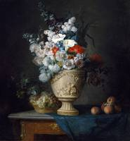 Bouquet of Flowers in a Terracotta Vase with Peach