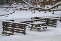 Beach Bench in Snow