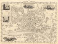 Vintage Map of Newcastle England (1851)